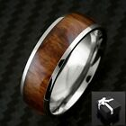 8mm Titanium Men's Ring Wood Grain Stripe Wedding Band Ring