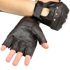 MENS BROWN LEATHER FINGER LESS DRIVING MOTORCYCLE BIKER GLOVES Work Out Exercise