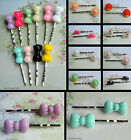 2 X (1 PAIR) OF HAT BONNET COMB HAIR BOW GRIPS CLIPS RESIN KITSCH KAWAII CUTE