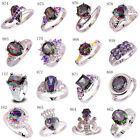 Colorful Women Rainbow White Topaz AAA Gemstone Silver Ring 6 7 8 9 10 11 12 13