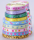 "25yards 3/8"" mixed 5 color satin grosgrain ribbon flower star heart leopard"