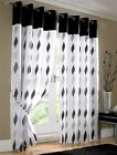 BLACK WHITE WAVES FULLY LINED RING TOP VOILE CURTAIN DRAPES 4 SIZES