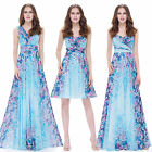Women's Long Floral Printed Blue Party Cocktail Formal Evening Dress 08945
