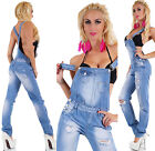Sexy Women's Jeans Jumpsuit Light Blue Baggy Bib Overall Destroyed Look Pants
