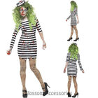 CA16 Zombie Jailbird Costume Ladies Halloween Convict Prisoner Fancy Dress Up