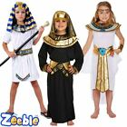 Boys Girls Egyptian Pharaoh Fancy Dress Costume School Historical Outfit 4-12y