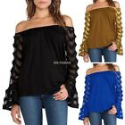 Womens Lady Off The Shoulder Strapless Casual Tops Long Sleeve Blouse Tee Shirt