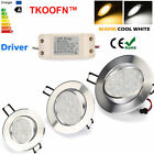 Lots 6x LED 6w 9w 12w Dimmable Tilt Ceiling down light fitting + Driver 85-265V
