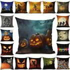 Halloween Pumpkin Cotton Linen Throw Pillow Case Cushion Cover Home Sofa Decor !