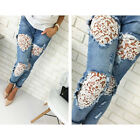 Women Destroyed Ripped Distressed Slim Lace Denim Pants Boyfriend Jeans Trousers
