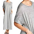 Two Tone Dolman Short Sleeve Maxi Dress with Side Pockets Casual Cute SM ML