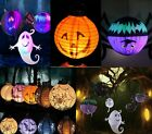 Led Halloween Hanging Lantern Bat Spider Ghost Shape Paper Party Decoration New