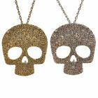 Statement Sugar Skull Pendant Necklace Bronze/Silver Mexican Frieda Kahlo Quirky