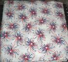 """RED & BLUE Fireworks on WHITE Cotton Quilt Fabric Remnant 44"""" x 44"""" wide"""