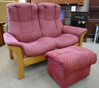 EKORNES Stressless Buckingham Pink Suede Recline 2-Seater Sofa & Footstool - L27