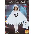 Girls Dress Halloween Ghost Hooded Cape  Costume White Stage Show Colthes