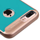 """FOR APPLE IPHONE 7 PLUS 5.5"""" TEAL ROSE GOLD RIPPLE HYBRID CASE RUGGED SLIM COVER"""