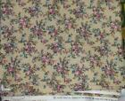 """PINK & BLUE on TAN Cotton Fabric 45"""" wide units $8 yd"""