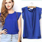 Sleeveless  Women Tank  Plain Tops T Shirt Blouse  Casual  Chiffon  Loose
