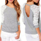 Fashion Womens Ladies Hollow Long Sleeve Tops Casual Loose Blouse Lace T-Shirt