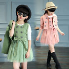 Fashion Kids Girls High Quality Double-Breasted 2 Pieces Coat+Dress Pink Green