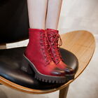 Women's Block High Heels Platform lace Up Side Zip Ankle Boots Punk Retro Riding
