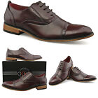 Mens New Oxblood Lace Up Leather LIned Toe Cap Smart Suit Brogue Shoes UK 6 - 12