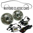 "H4 Domed 7"" Headlamps with Super Bright HID Xenon Kit Suitable for Classic Cars"