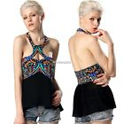 Women Tank Tops T-Shirt Backless Sleeveless Sexy Lady Patchwork Blouse N4U8