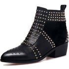 Women Genuine Leather Rivet Warm Winter Boots Fleece Lining Casual Ankle Shoes