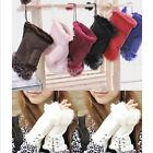 New Rabbit Fur Leather Lady Fingerless Suede Mittens Womens Winter Wrist Gloves