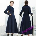 Fashion Womens Casual Double Breasted Lapel Golilla Wool Blend Long Trench Coat