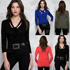 Fashion new spring women lady long sleeve solid slim lacing T-shirts tops blouse