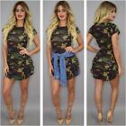 Women Summer Army Green Short Sleeve Mini Dresses Camouflage Print Plus Size