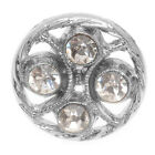 Silver Toned Plastic Button Round With Crystals 18mm (1)