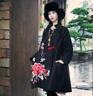 Womens National Embroidery Flowers Loose Cotton Blend Jacket Outwear Coat Dress