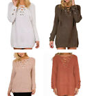 Fashion Women's Lace Up Front V Neck Sweater Pullover Jumper Dress Knitted Top