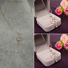 CHIC 925 Silver Plated Fashion Women Double Heart Pendant Necklace Chain Jewelry