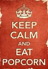 ACR38 Vintage Style Red Keep Calm Eat Popcorn Food Funny Poster Print A2/A3/A4