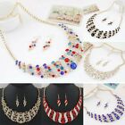 Women's Crystal Bib Pendant Necklace Statement Hook Earrings Hot Jewelry Set