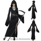 CA93  Womens Lady Grim Reaper Costume Halloween Skeleton Horror Fancy Plus Dress