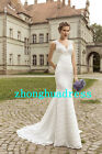 New Stock White/Ivory Lace Wedding Dress Bridal Gowns Size 6 8 10 12 14 16 18 20