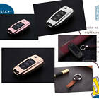 For Volkswagen Car Key Case Cover Keyless Entry Aluminum Genuine Leather + Chain