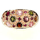 CHARMING FANCY COLORS TOURMALINE,RUBY ROSE GOLD COATING 925 SILVER RING SIZE 9