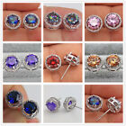 18K White Gold Filled- Round MYSTICAL Topaz Amethyst Morganite Earrings 7 Color image