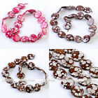 Women Jewelry Making Spots Pattern MOP Shell Round Coin Loose Beads Strand