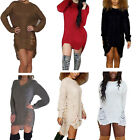 Womens Loose Long Sleeve Knitted Sweater Ladies Jumper Pullover Dress Tops New
