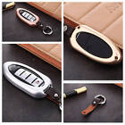 Car Key Case Cover For Nissan Smart Key Aircraft Grade Aluminum Genuine Leather