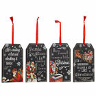 Xmas Small Chalk Wooden Hanging Slogan Plaque Festive Office Home Decoration