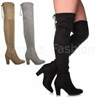 WOMENS LADIES HIGH HEEL TIE ZIP WORK CASUAL OVER THE KNEE THIGH HIGH BOOTS SIZE